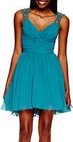 City Triangles Sleeveless Embellished-Shoulder Short Party Dress- Juniors