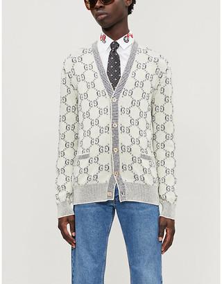 Gucci Logo-intarsia V-neck wool cardigan
