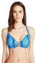 Bleu Rod Beattie Women's Mykonos Multi Print Floating Underwire Cross Back D Cup Bra Bikini Top