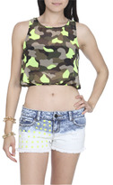 Wet Seal WetSeal Electric Open Back Tank Camouflage