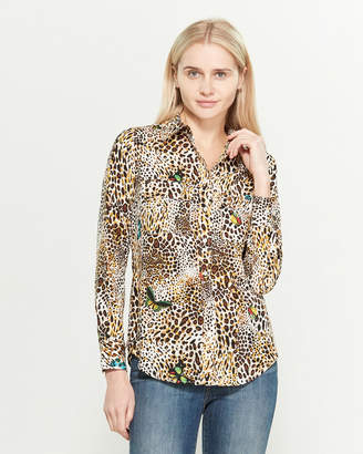 Sioni Long Sleeve Leopard & Butterfly Print Shirt