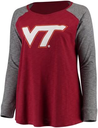 Unbranded Women's Maroon/Charcoal Virginia Tech Hokies Plus Size Preppy Elbow Patch Slub Long Sleeve T-Shirt