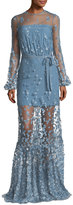 Alexis Corra High-Neck Illusion Evening Gown