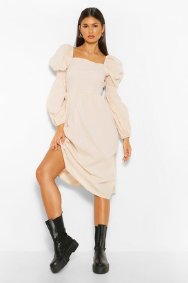 boohoo Square Neck Shirred Sleeve Midi Skater Dress