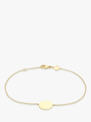 IBB Personalised 9ct Gold Disc Initial Chain Bracelet