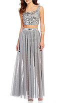 Jodi Kristopher Sequin Beaded Top Two Piece Long Dress