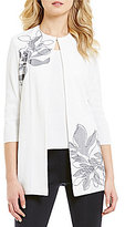 Ming Wang 3/4 Sleeve Embroidered Jacket
