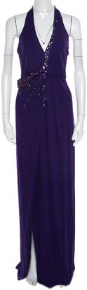 Blumarine Purple Embellished Draped Halter Gown S