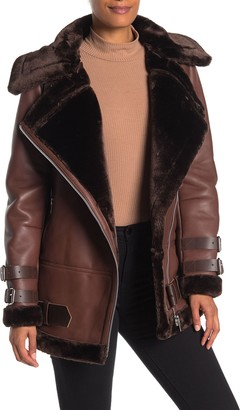 Walter Baker Adele Faux Shearling Lined Leather Jacket