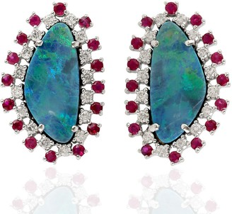 Artisan Natural Gemstone Gold 18Kt Opal Doublet Ruby Genuine Diamond Women Stud Earring Jewelry