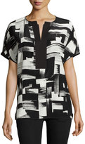 Lafayette 148 New York Lula Short-Sleeve Silk Blouse, Black Multi