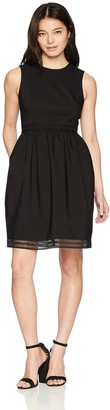 Calvin Klein Women's Cotton Fit and Flare with Novelty Trim Dress