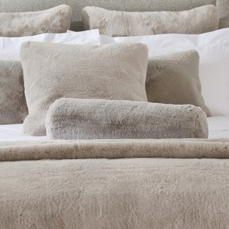 The White Company Super Soft Faux-Fur Boudoir Cushion, Dove Grey, One Size