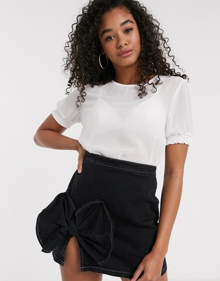 Pieces Amalie puff sleeve mesh top