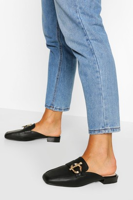 boohoo Metal Trim Mule Loafers