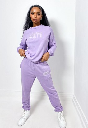Missguided Lilac Embroidered Sweatshirt And Joggers Co Ord Set