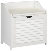 Household Essentials Design Trends® Bench Hamper with Shutter Front and Foam Cushion - White
