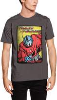 Transformers Official Men's Optimus Prime Comic Design Charcoal T-Shirt - S-XXL