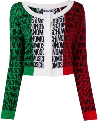 Moschino Intarsia Logo Panelled Cardigan