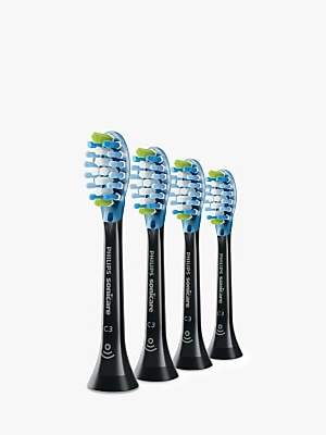 Philips HX9044/33 Sonicare Optimal Plaque Defence Brush Heads, Pack of 4, Black