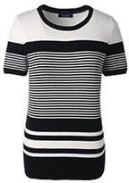 Lands' End Women's Tall Short Sleeve Supima Stripe Sweater-Black Stripe