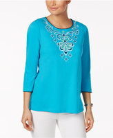 Alfred Dunner Scenic Route Embroidered Studded Top