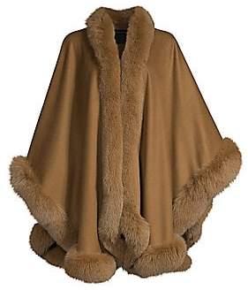 Sofia Cashmere Women's Dyed Fox Fur-Trim Cashmere Wrap