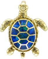 Gold and Diamond Source 14 Karat Yellow Gold Opal Inlay Sea Turtle Pendant