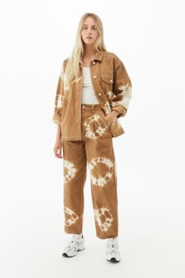 BDG Tie-Dye Shirt Jacket - Brown XS at Urban Outfitters