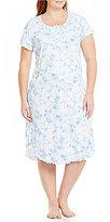 Miss Elaine Plus Floral & Bird-Print Long Nightgown