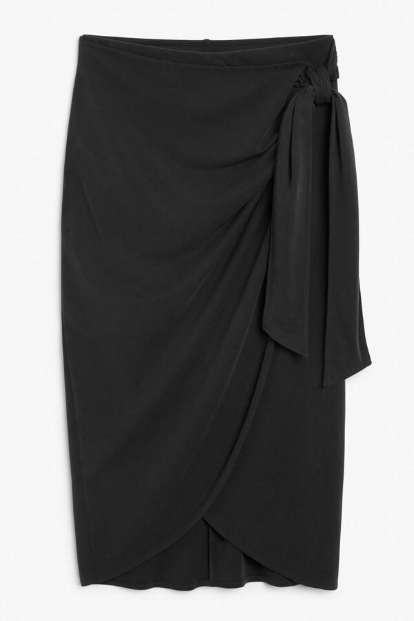 Monki Super-soft draped wrap skirt