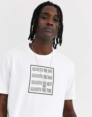 AllSaints t-shirt with text cube print in white