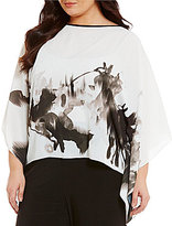 IC Collection Plus Print Poncho Boat Neck Top