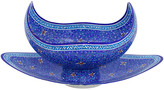 One Kings Lane Vintage Persian Copper Bowl & Tray - G3Q Designs - blue/white