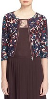 Tracy Reese Front Zip Print Cotton Cardigan