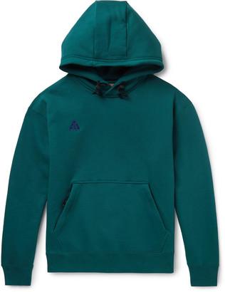 Nike Acg Nrg Logo-embroidered Fleece-back Cotton-blend Jersey Hoodie - Green
