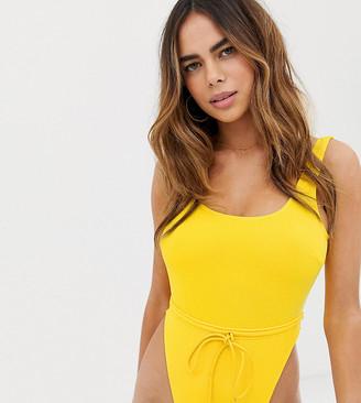 Peek & Beau Fuller Bust Exclusive high leg adjustable waist swimsuit in daffodil