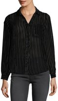 philosophy Striped-Velvet Burnout Blouse