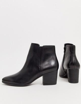 Aldo mid heel almond toe leather ankle boot-Black