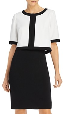 Adrianna Papell Color-Blocked Popover Dress