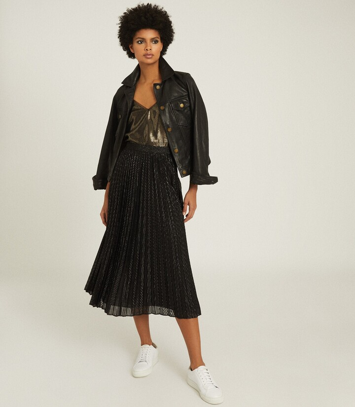 Thumbnail for your product : Reiss Marianne - Mesh Pleated Midi Skirt in Black