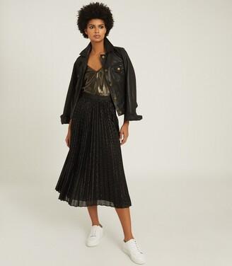 Reiss Marianne - Mesh Pleated Midi Skirt in Black