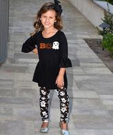 Beary Basics Black 'Boo' Bell-Sleeve Tunic & Ghost Leggings - Toddler & Girls