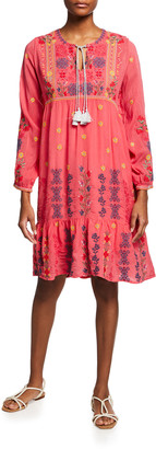 Johnny Was Daisy Embroidered Flounce Dress w/ Slip