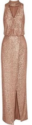 ML Monique Lhuillier Wrap-effect Cutout Sequined Tulle Gown