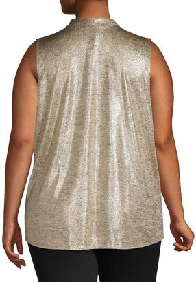 Calvin Klein Plus Metallic V-Neck Sleeveless Top