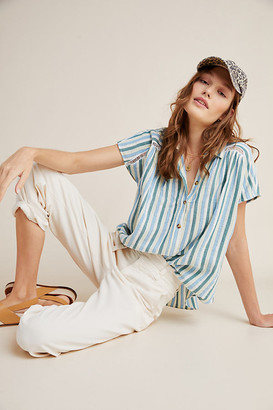 Pilcro And The Letterpress The Serena Surf Henley Blouse By in Assorted Size XS