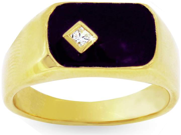 6c431a471f044 Men's 9ct Gold Plated Silver Black Enamel CZ Ring