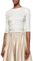 Jenny Packham Half-Sleeve Chevron Beaded Top, Ivory