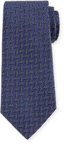 Armani Collezioni Woven Zigzag Silk Tie, Blue